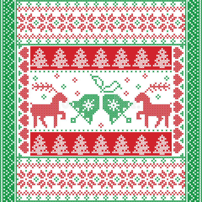 Free Christmas And Festive Winter Square Pattern In Cross Stitch Style With Christmas Bell, Tree, Reindeer, Heart, Snowflake, Star Royalty Free Stock Image - 81686966
