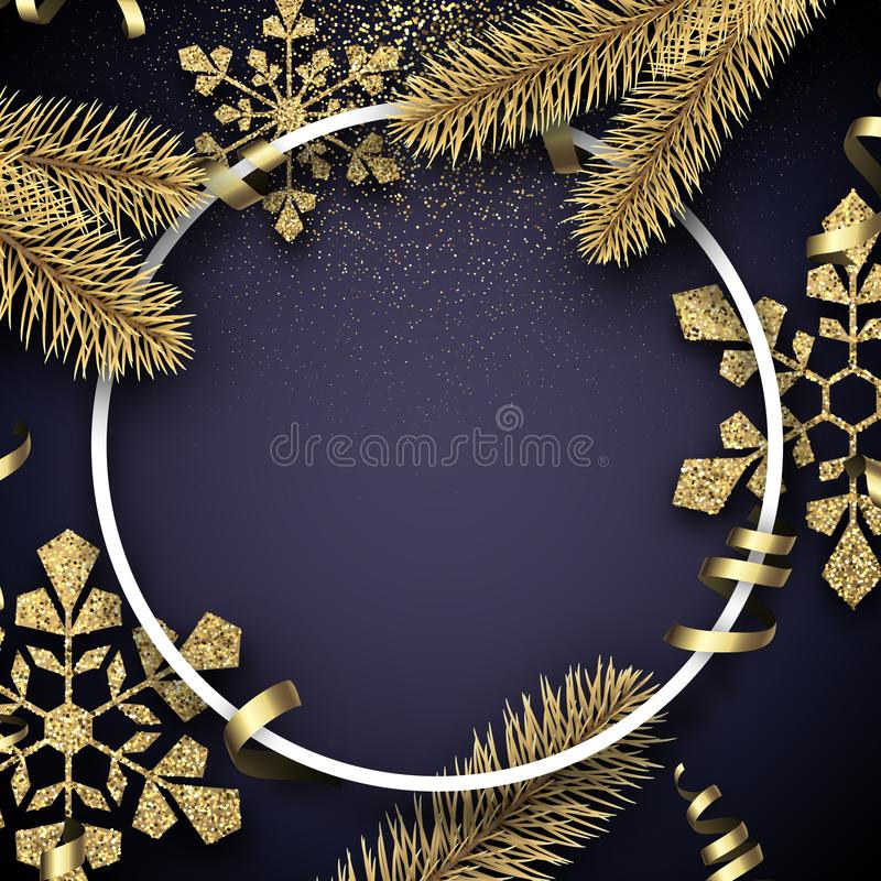Free Christmas And New Year Card With Round Frame, Fir Branches And G Stock Photos - 132199393