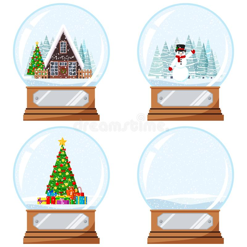 Free Christmas And New Year Design Crystal Snow Globe Toy With Decorated House, Xmas Tree With Gifts, Snowmen Vector Flat. Royalty Free Stock Photography - 160184007