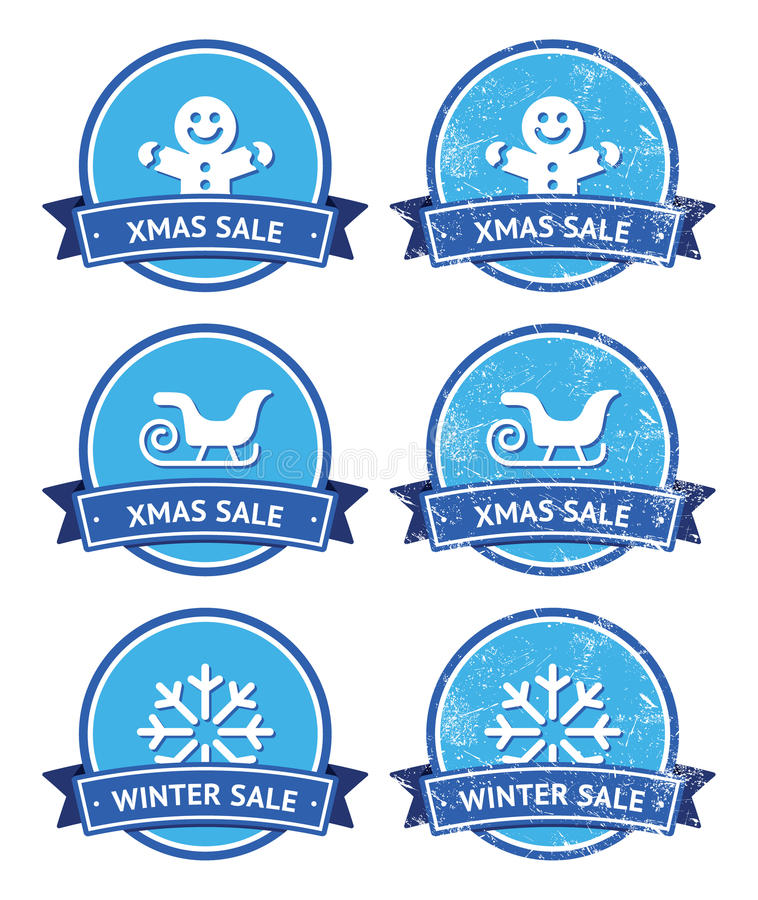 Free Christmas And Winter Sale Retro Labels Royalty Free Stock Images - 27315659