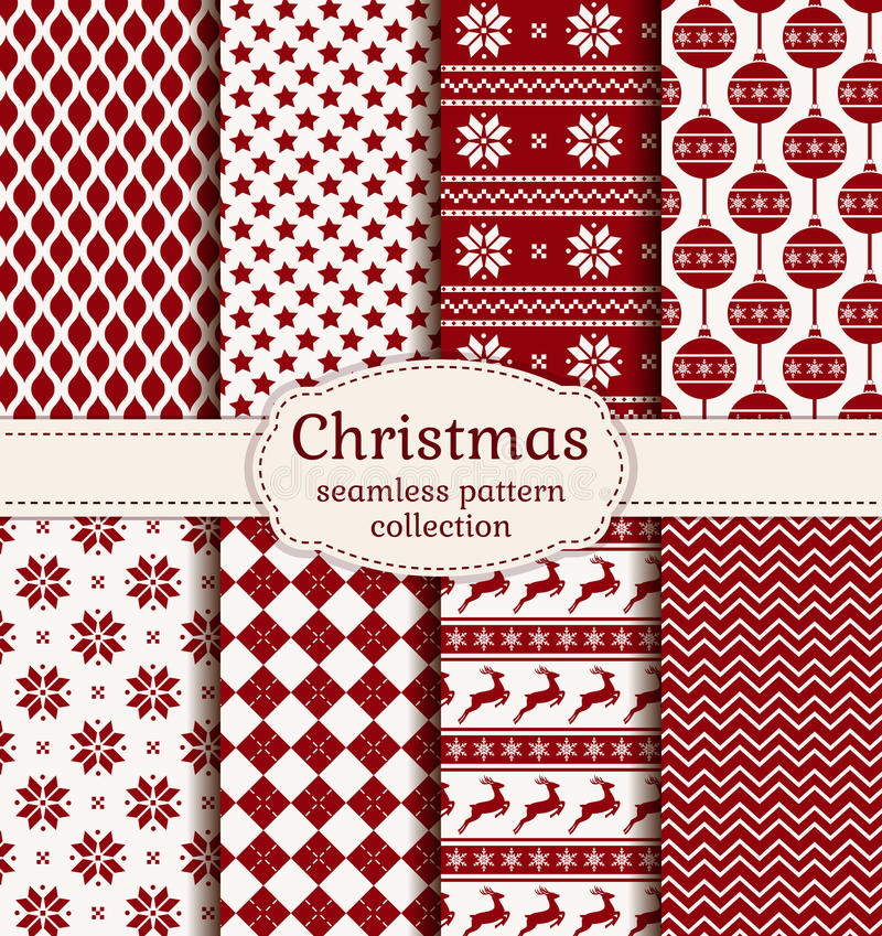 Free Christmas And Winter Seamless Patterns. Vector Set. Stock Image - 47221971