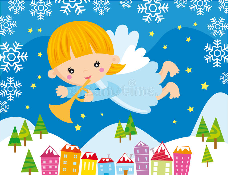 Christmas angel. Illustration of little angel playing a trumpet at christmas night