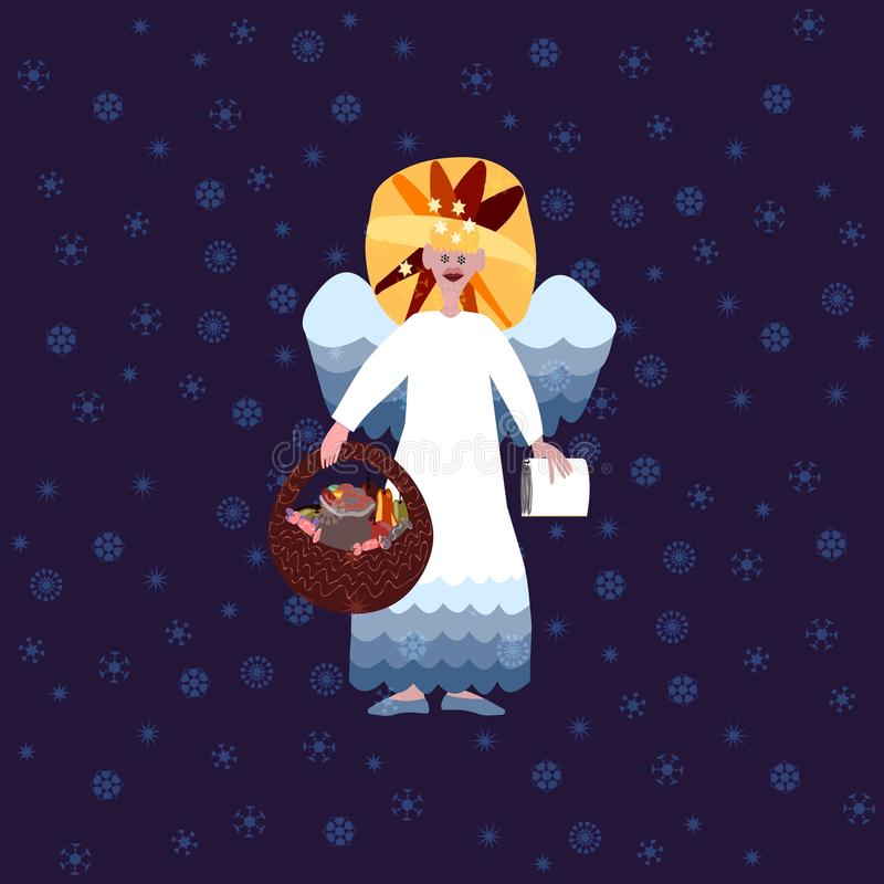 Christmas angel on blue background with snowflakes. Christmas angel with book of good deeds and basket with sweets on blue background with snowflakes stock illustration