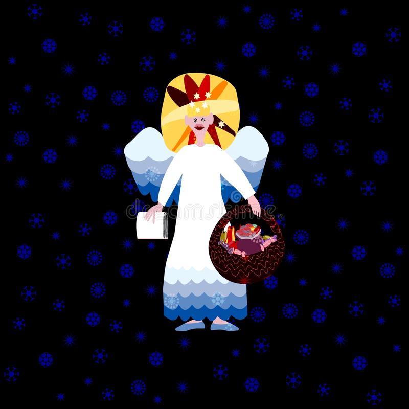 Christmas angel on blue background with snowflakes. Christmas angel with book of good deeds and basket with sweets on dark background vector illustration