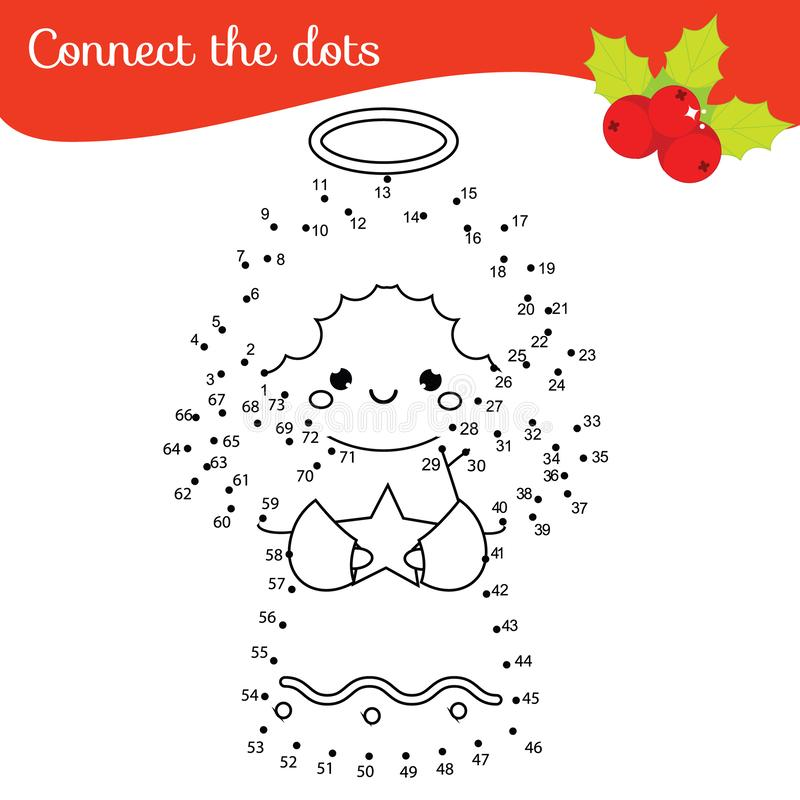 Connect the dots by numbers children educational game. New Year theme, Christmas angel royalty free illustration