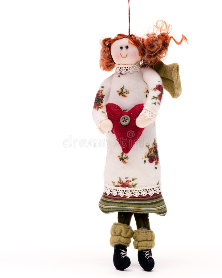 Christmas Angel Doll On White Royalty Free Stock Images