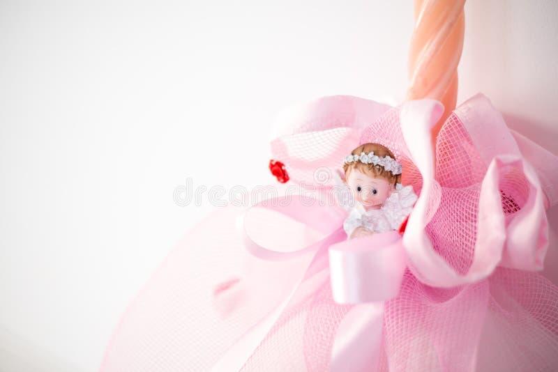 Christmas angel figurine. Handmade candles. Christmas decoration stock images