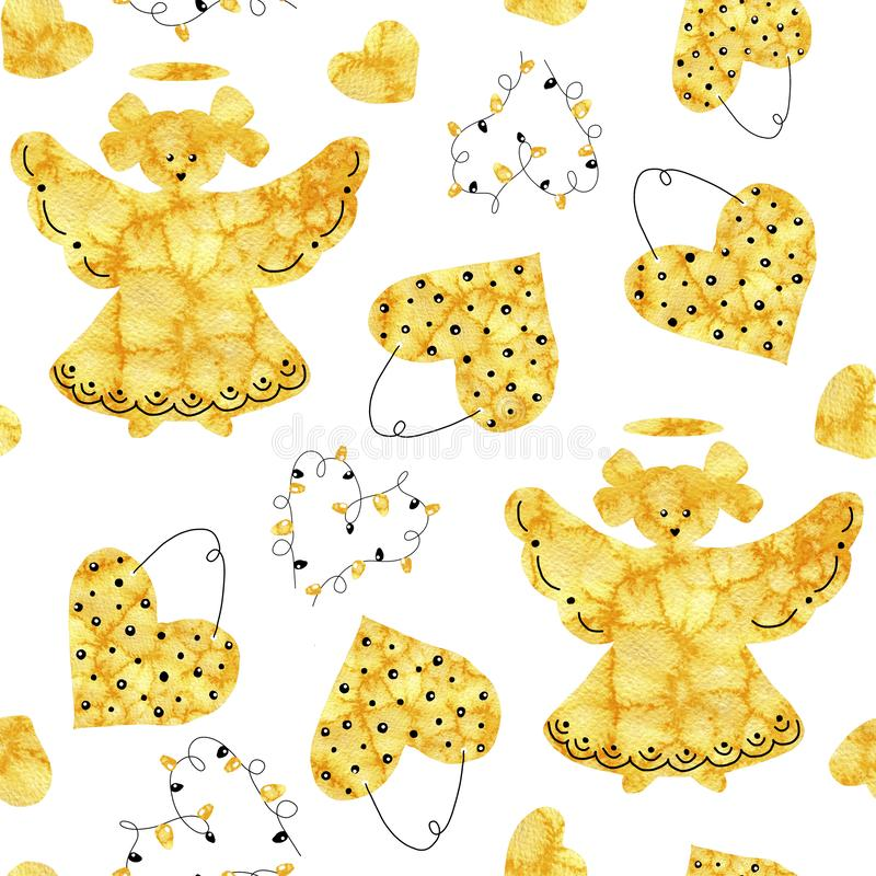 Christmas angel girl silhouet and hearts. Seamless pattern. Abstract collage with a frosty closeup pattern. Hand drawn watercolor. Illustration for festive New vector illustration