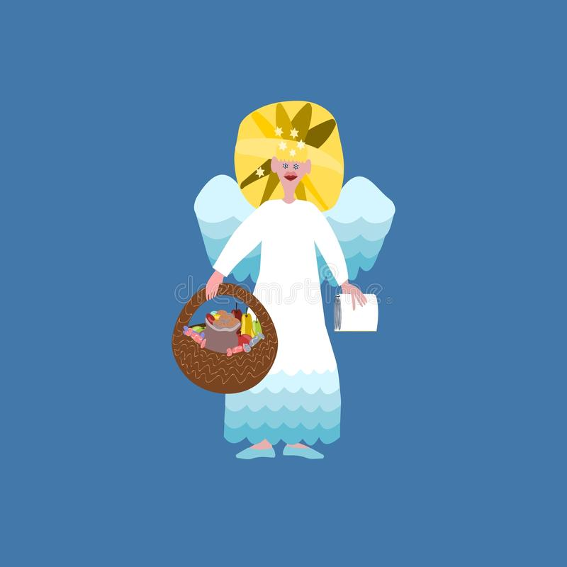 Christmas angel isolated. Christmas angel with book of good deeds and basket with sweets isolated on blue background vector illustration