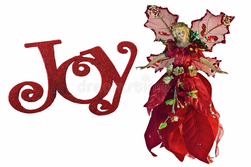 Christmas Angel in Red. A Christmas angel in red with sequins, gold leaves, wings isolated on a white background with the word Joy royalty free stock photography