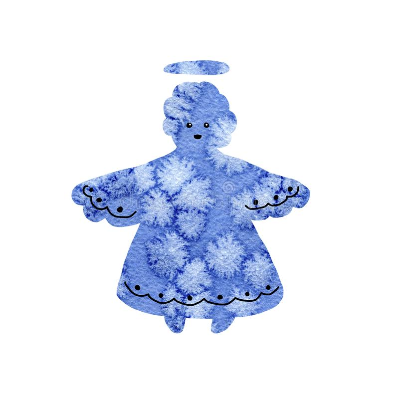 Christmas angel silhouette isolated on white background. Abstract collage with a frosty closeup pattern. Hand drawn watercolor. Illustration for festive New stock photo