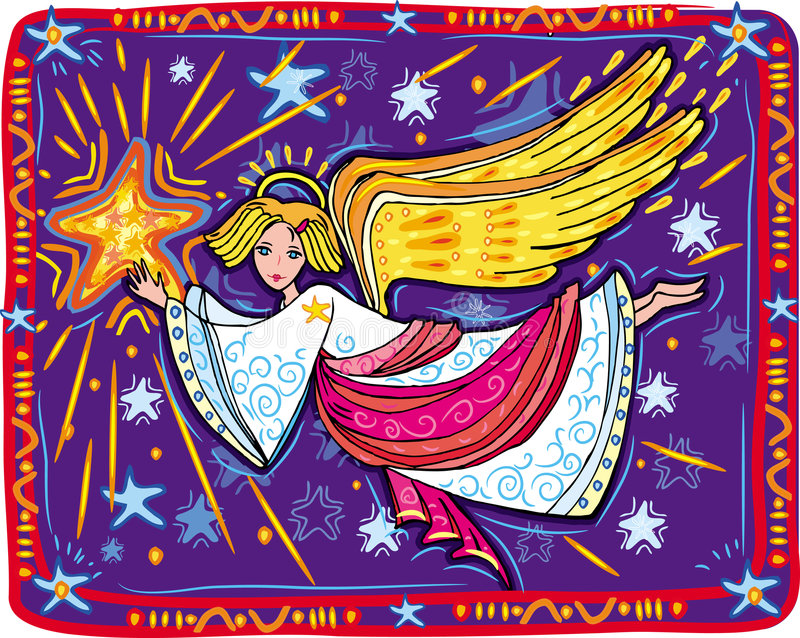 Christmas angel and star royalty free illustration