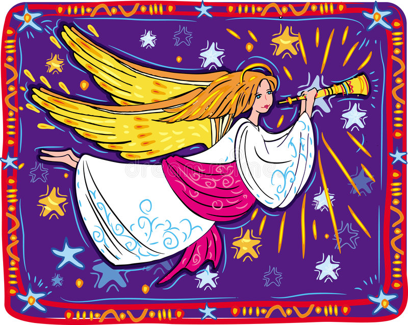 Christmas angel and trumpet royalty free illustration
