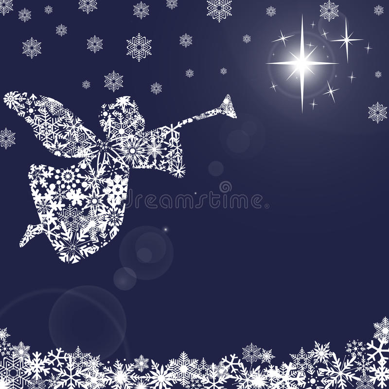 Christmas Angel with Trumpet and Snowflakes 2 royalty free illustration