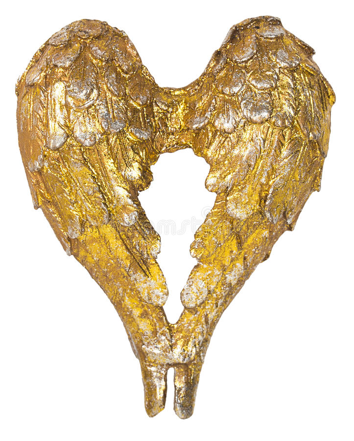 Christmas angel wings gold decoration. Isolated on white background stock image