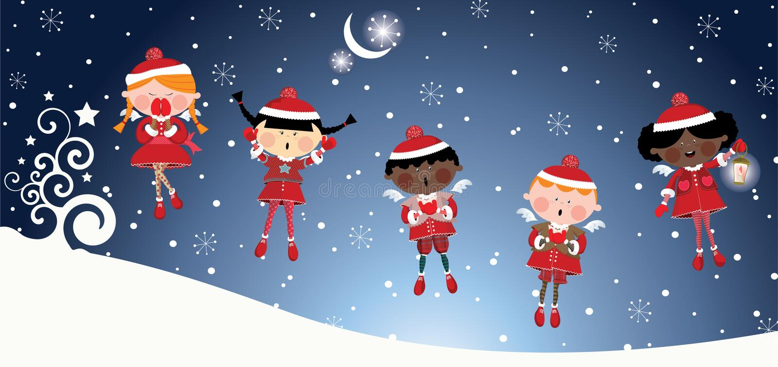 Christmas angels royalty free illustration