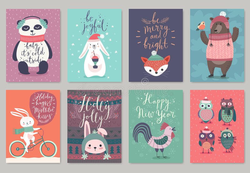 Christmas animals card set, hand drawn style. stock illustration