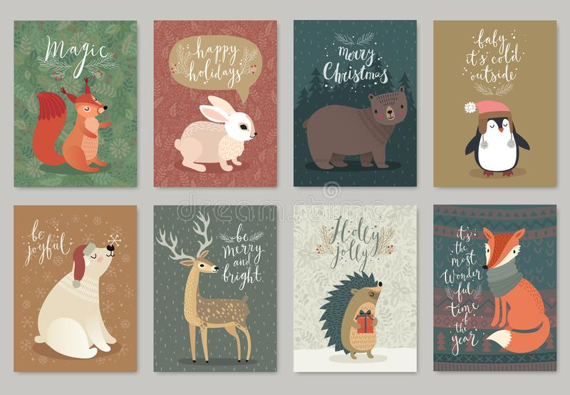 Christmas animals card set, hand drawn style. vector illustration