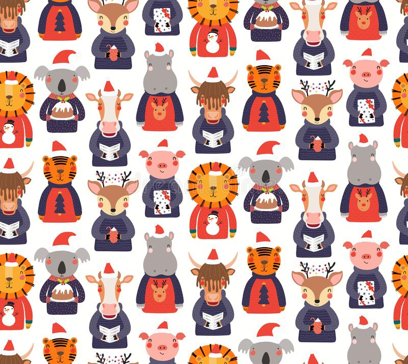 Free Christmas Animals Seamless Pattern Royalty Free Stock Images - 163172959