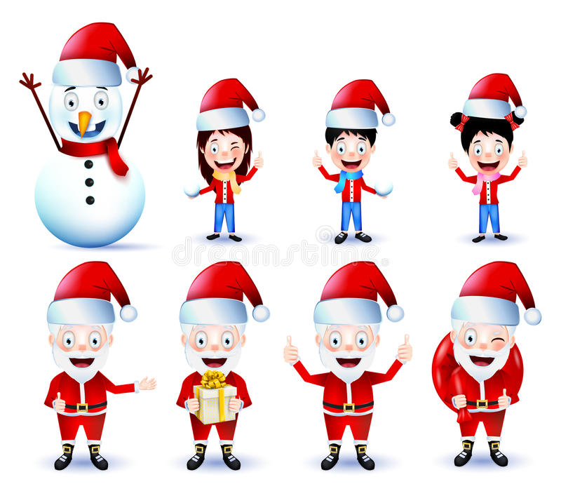 Christmas Animated Characters Vector Pack on Background stock illustration