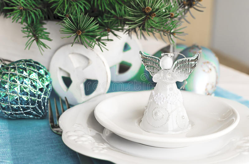 Christmas ans New Year table decoration with Angel.  stock photo