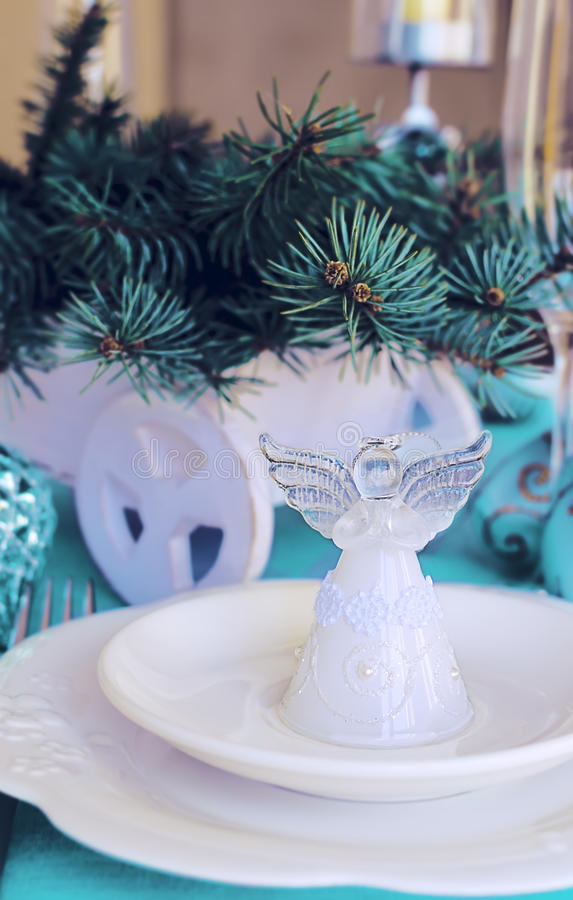 Christmas ans New Year table decoration with Angel.  stock image
