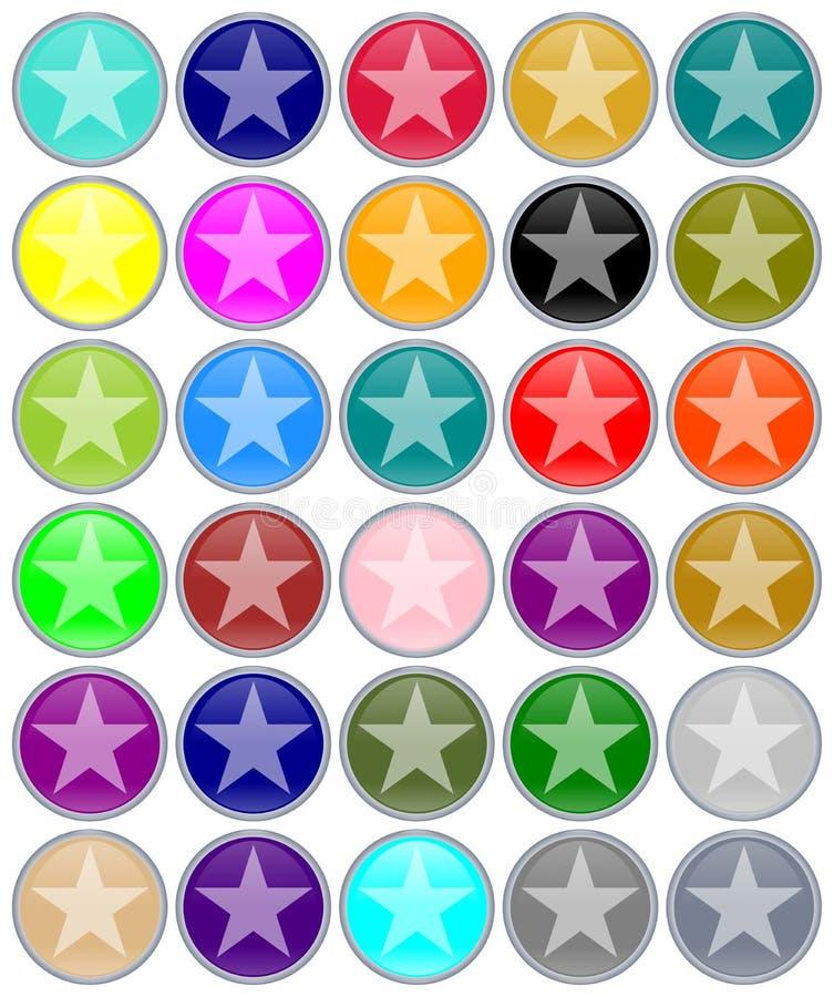 Christmas aqua buttons with stars stock illustration