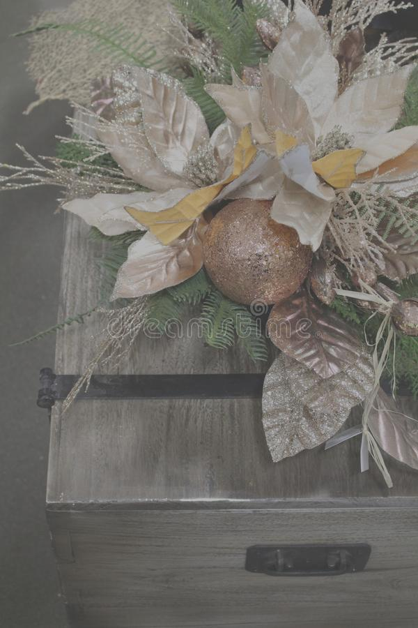 Christmas arrangement on antique chest stock photos