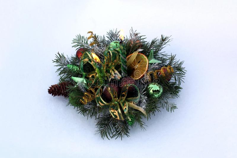 Christmas arrangement for home decoration and Christmas mood stock photos