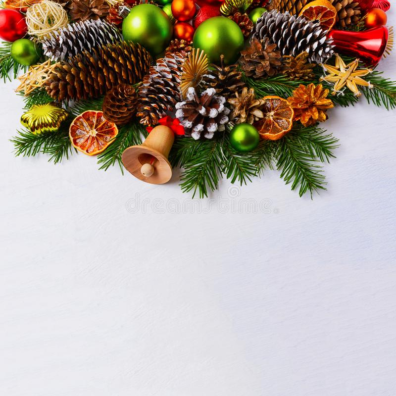 Christmas arrangement with fir branches and green balls, copy sp royalty free stock photo
