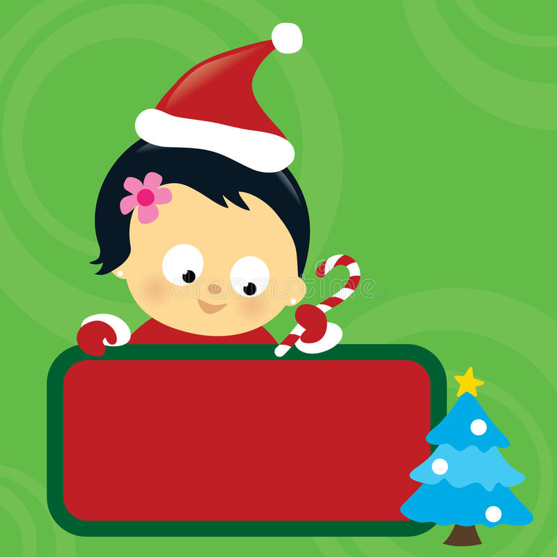 Download Christmas Asian Baby Girl Holding Sign Stock Vector - Illustration: 17330447