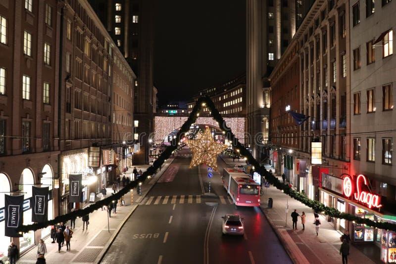 Christmas spirit on Kungsgatan in Stockholm stock photos