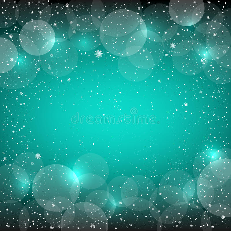 Christmas azure snow bokeh backdrop. Holiday azure blue snow background with sparkle bokeh circles. Christmas and New Year backdrop royalty free illustration