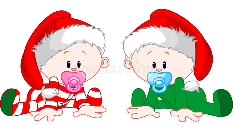 Christmas Babies. Two cute babies with Christmas costumes