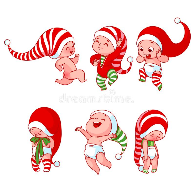 Christmas babies with different emotions in various festive cost stock illustration