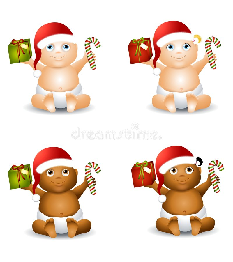 Christmas Baby Clip Art. An illustration featuring your choice of happy smiling baby - african american and caucasian - boys and girls - wearing Santa hats and stock illustration
