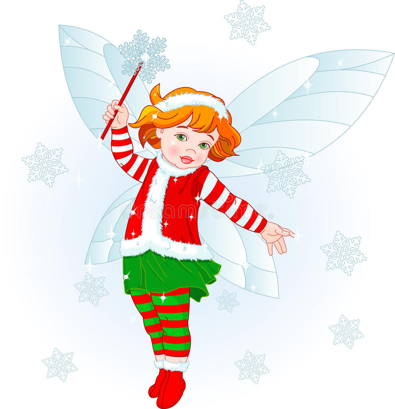 Christmas baby fairy stock illustration