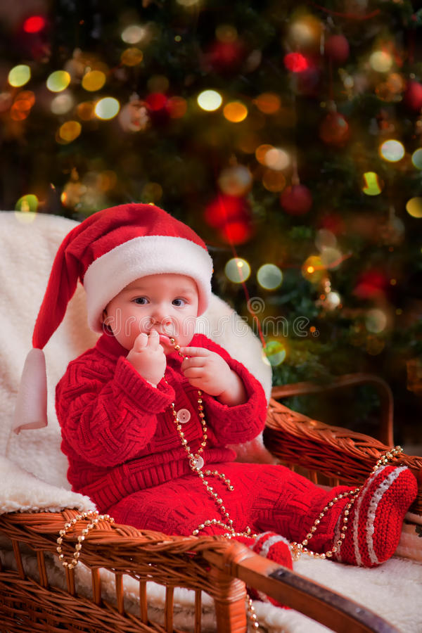 Gift Ideas For Babys First Christmas Australia : Christmas baby portrait stock image of care