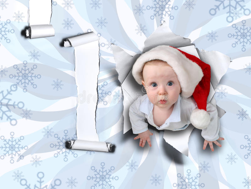 Christmas baby from ragged wall vector illustration