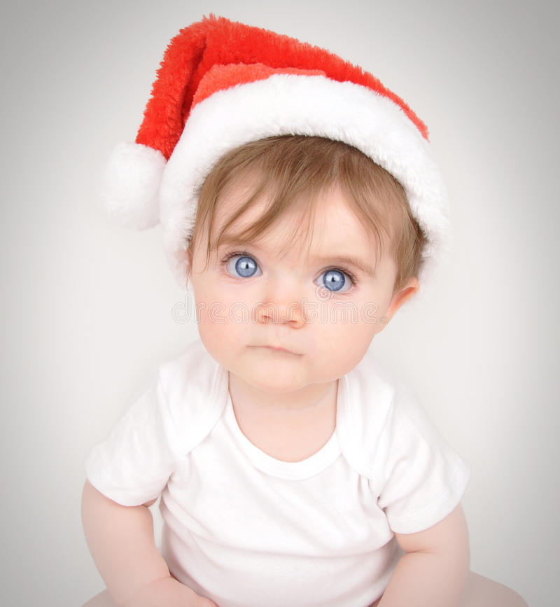 Download Christmas Baby With Santa Hat Stock Photo - Image: 28146306