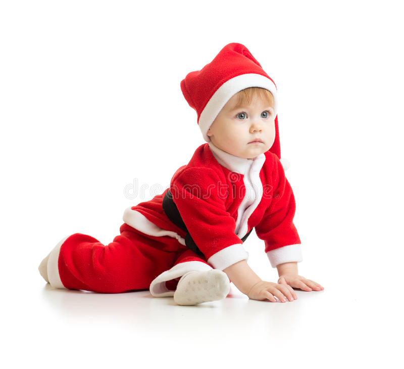 Christmas baby in Santa's clothes isolated stock photos
