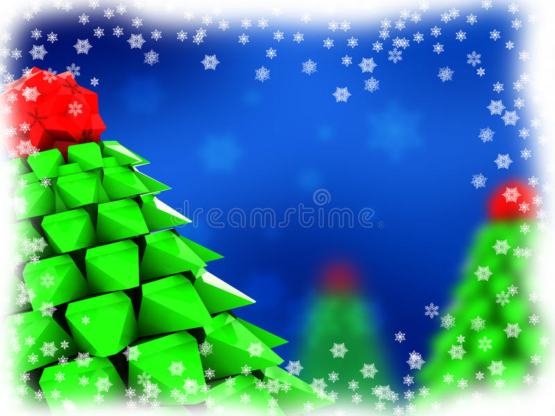 Christmas background. 3d illustration of blue christmas background with xmas trees vector illustration
