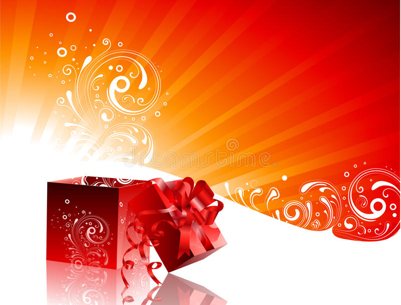 Christmas Background. Christmas illustration with gift box and floral decorative elements stock illustration