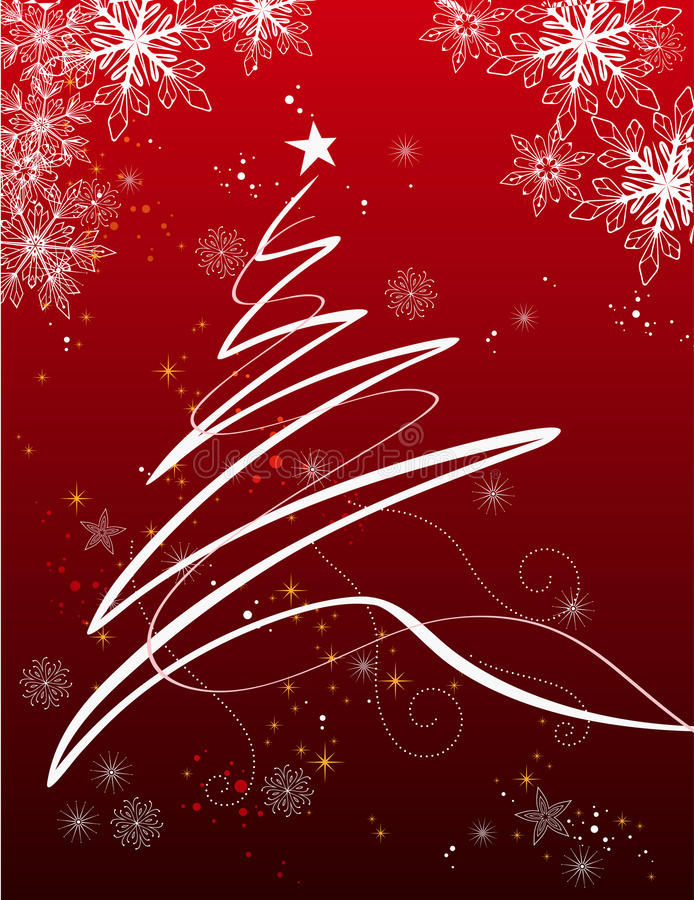 Christmas background. Illustration of Christmas tree and decorative snowflakes on red background