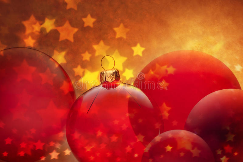 Christmas Background. A rich red and golden Christmas background with red ornaments and gold stars