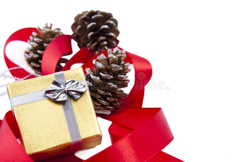 Christmas background. Gifts and decorations for Christmas stock photography
