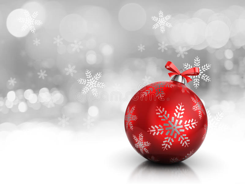 Christmas background. 3d illustration of christmas background or card, with red glass ball vector illustration