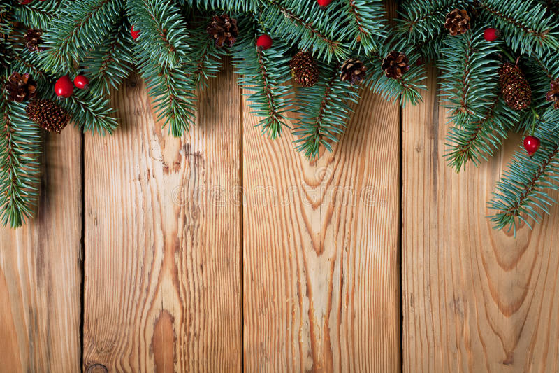 Christmas Background. Branches of silver spruce with cones and briar on wood background. Copy space stock images