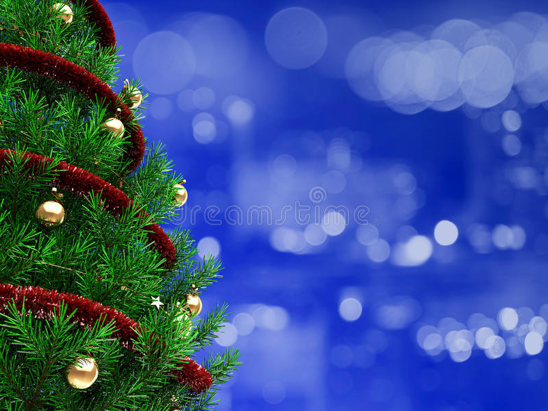Christmas background. 3d illustration of christmas background with xmas tree vector illustration