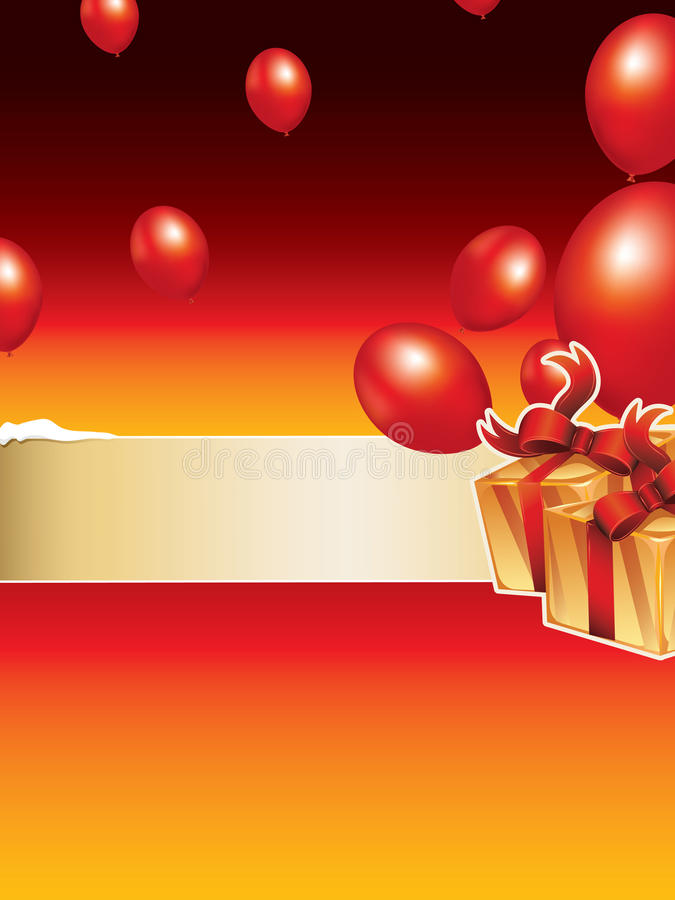 Christmas background. Background with balloons and gift boxes vector illustration